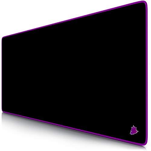 Titanwolf – Alfombrilla gaming XXL para ratón 900 x 400 – Mouse pad - Precisión y velocidad - Parte inferior de goma para una sujeción estable - Antideslizante, resistente al agua – Motivo Icon Purple