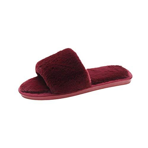 MQQM Zapatillas CáLidas De Espuma De Memoria,Zapatilla y Patines cálidos, Felpa casera algodón-Rojo_38-39,Algodón Calentar Zapatilla