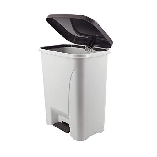 Quoqunshop Avfallspapperskorg/papperskorg stor vinkel öppet skydd PP-material matt process skräpkorg pedal köpcentrum kontor stor kapacitet skräpkorg kök papperskorgar/bin (storlek: 30 L)