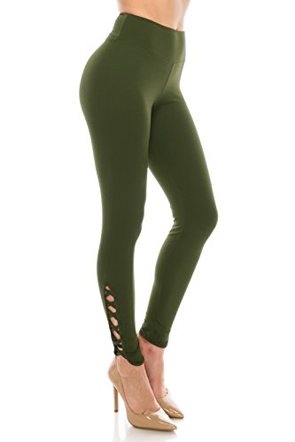 ALWAYS Women Solid Soft Stretch Criss Cross Workout Yoga Leggings Olive Regular