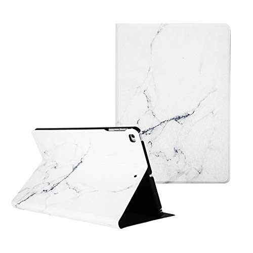 Artcase iPad Air/Air 2 Case, iPad 9.7 inch 2018/2017 Case, Marble Case PU Leather Stand Cover with Auto Wake/Sleep for Apple iPad Air 1/2, iPad 5th/6th Generation (White Marble)