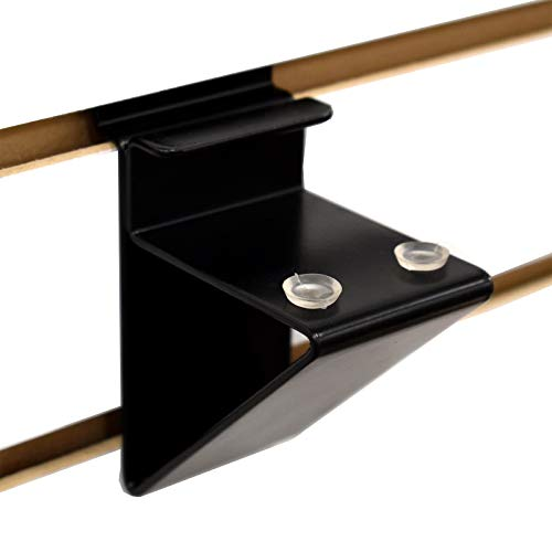 Slatwall Wood Shelf Bracket, Low Profile Support for 3/4' Thick Wooden Shelves up to 14' D, Black, 20 Pack