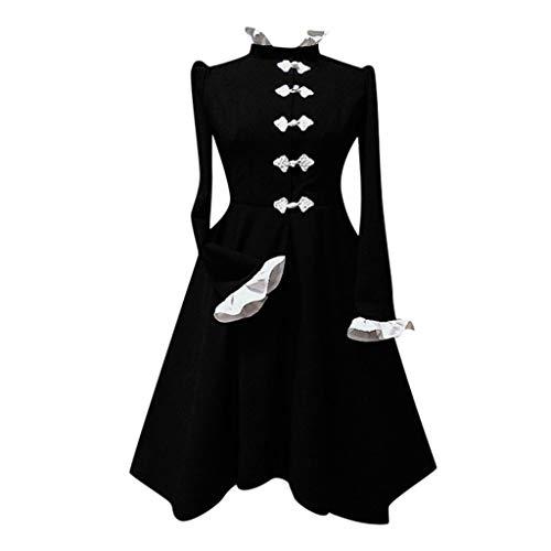 HEVÜY Damen Mittelalter Party Kostüme Kleid, Vintage Mittelalterliche Kleid Lace up Ballkleid mit Trompetenärmel Gothic Prinzessin Renaissance Partykleid Maxikleid Cosplay Kostüm Bodenlänge
