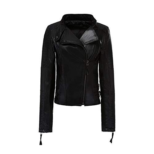 WMOFC Frauen Lederjacken Slim Fit Revers Zip Up Leder Biker Fliegerjacke PU Blazer Damen Outwear Mantel,XL