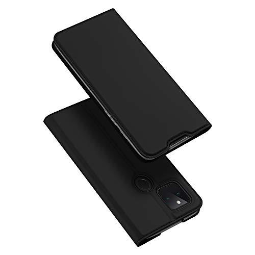 DUX DUCIS Hülle für Google Pixel 5, Leder Flip Handyhülle Schutzhülle Tasche Hülle mit [Kartenfach] [Standfunktion] [Magnetverschluss] für Google Pixel 5 (Schwarz)