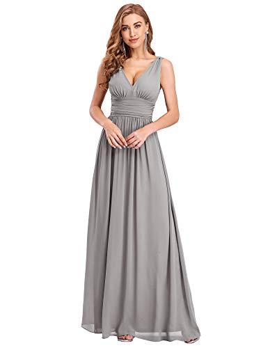 Ever-Pretty Damen Festliches Kleid A-Linie V-Ausschnitt Ärmellos Chiffon Hohe Taille Grau 48