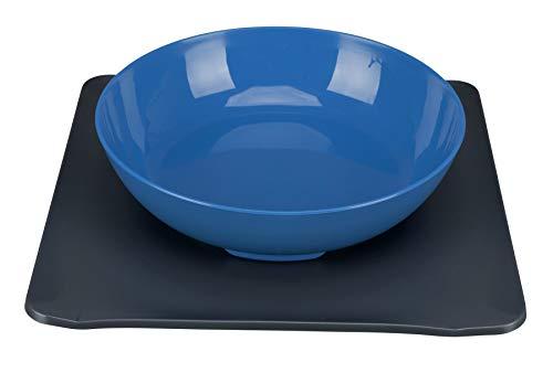Yummynator 08188 Rutschfeste Matte mit Futternapf, BPA mit Tiernapf-System: Vereint Napf und Platzmatte für Katze oder Hund, M, grau/blau