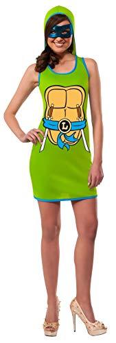 Rubie's Women's TMNT Classic Costume Leonardo Hooded Tank Dress, Green, Large