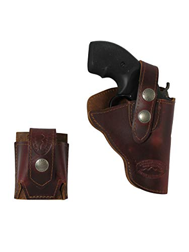 Barsony New Burgundy Leather Outside The Waistband Holster + Speed-Loader Pouch for Ruger LCR 38, 22 Right