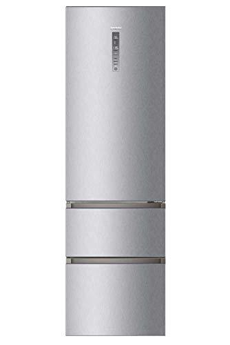 Haier A3FE737CMJ - Frigorífico combi con congelador de cajones, 2m alto, ABT Antibacterias, Motor Inverter, Libre instalación, Inox, Clase E