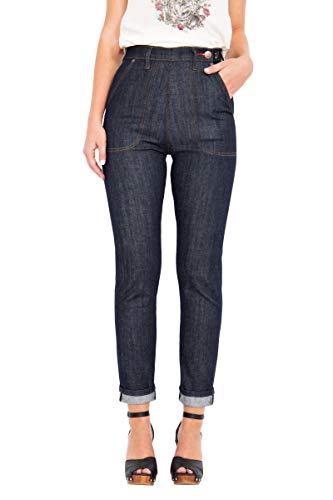 Queen Kerosin Damen Rockabilly Red Selvedge High Waist Jeans 50S Original Fit Red Selvedge