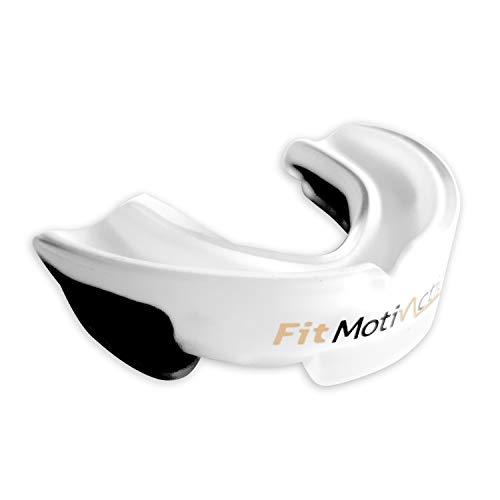 FitMotivaction Protector dental termoformable para boxeo, full contact, judo y otros deportes de contacto, incluye estuche de almacenamientoPara adultos y adolescentes.