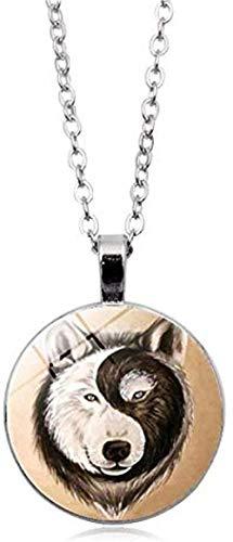 Collar con Colgante de Lobo cabujón de Cristal Hecho a Mano, Collar de chismes Yin y Yang,...