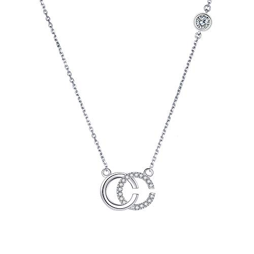 Lydreewam Women 925 Sterling Silver Necklace Double C Initial Letter Pendant Necklace with 3A Cubic Zirconia, Adjustable 40+5cm