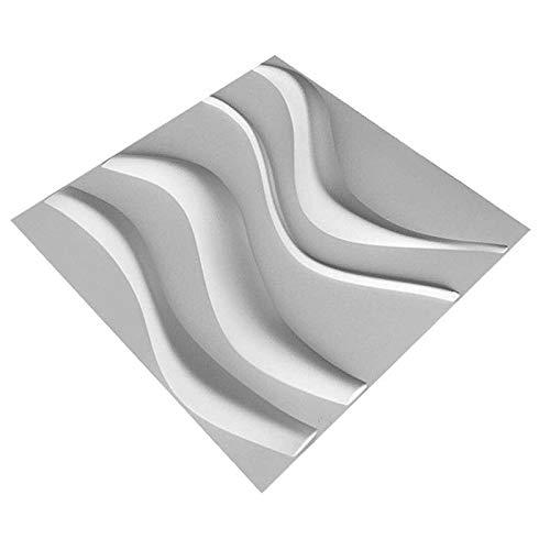 Dekorative 3D Wandpaneele Wasserdichtes haltbares Wave-Wall Design, für Wohnzimmer Schlafzimmer Hintergrund Wanddekoration (10Panels, Sub-Weiß, 27 Sq Feet)