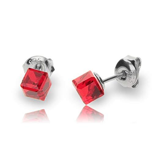 Spark レディース ピアス 赤 1月誕生石 色 ガーネット スワロフスキー 製 クリスタル キューブ 小さめ かわいい 彼女 妻 プレゼント 誕生日 Pierce Swarovski Crystals シャム K48414SI