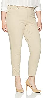 RUBY RD. womens Plus Size Fly Front Stretch Knitted Twill Pant Casual Pants