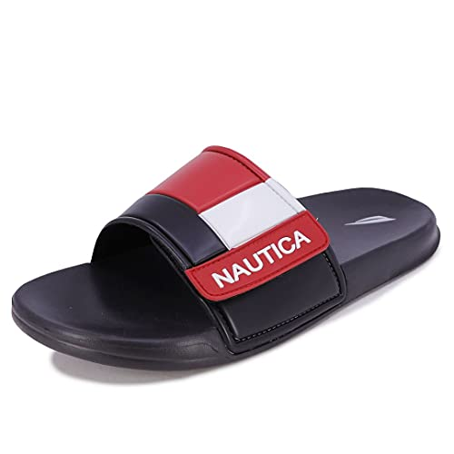 Nautica Men's Bower 2 Athletic Slide, Adjustable Straps Comfort Sandal-Black/White/Red-13