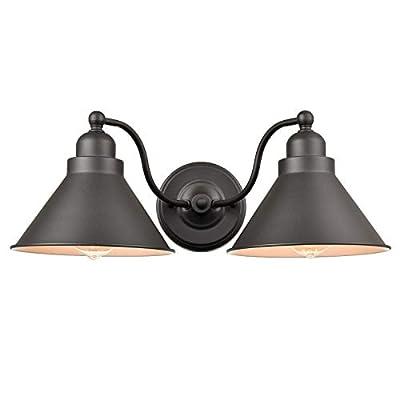 Farmhouse 2-Light Vanity Light Matte Black Industrial Goose-Neck Wall Sconce Kitchen Bathroom Wall Lighting