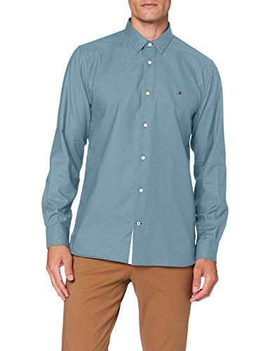 Tommy Hilfiger Flex Two Tone Dobby Shirt Camisa, Verde, S para Hombre