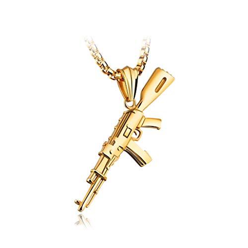 WXIANG Joyas Mujer Collares Hombre Joyería Cadena Colgantes Moda Estilo Hip Hop Collar Masculino Punk Personalidad Acero AK-47 Dorado Joyas para Mujer (Color : Gold)