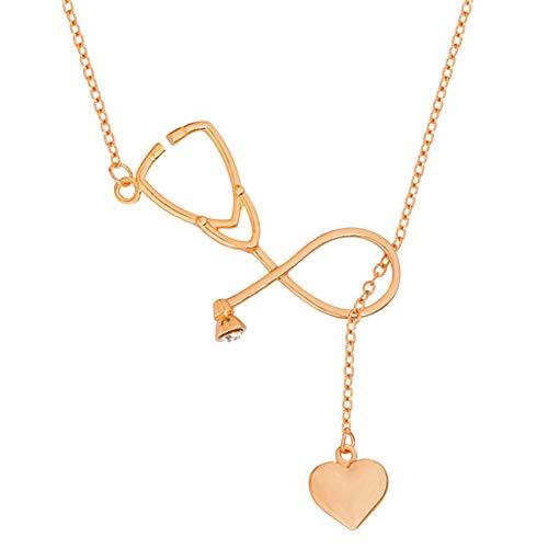 Halskette als Geschenk für Mütter, Frauen und Mädchen, modisches Stethoskop, Herz-Anhänger mit Halskette, Arzt, Krankenschwester, Liebesgeschenk, Roségold, silber