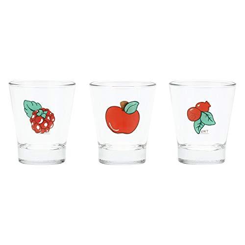 THUN ® - Set Vassoietto e 6 Bicchierini - Linea Frutti Rossi - Vetro - Vassoio Ø Interno 20,5 cm - h 2 cm - Ø Bicchiere Ø 6 cm - h 7 cm
