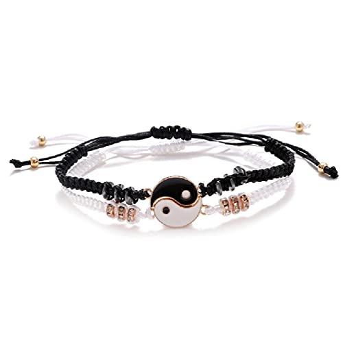 SHINAN Pulseras de pareja Yin y Yang cordón ajustable negro y blanco pulseras para niño
