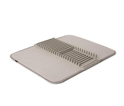 Umbra Rack y alfombrilla de microfibra para secar platos, diseño ligero que ahorra espacio, se pliega para un fácil almacenamiento, 60 x 45,7 cm, acero inoxidable 18/8, Beige, talla única