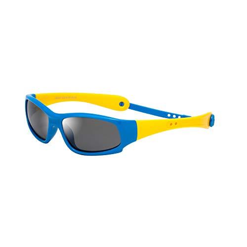 LianSan - Occhiali da sole polarizzati in gomma per bambini, 100% protezione UV 400, infrangibili, flessibili, sicure per neonati, bambini, ragazzi, ragazzi, età 3-12 Telaio blu Tempel giallo.