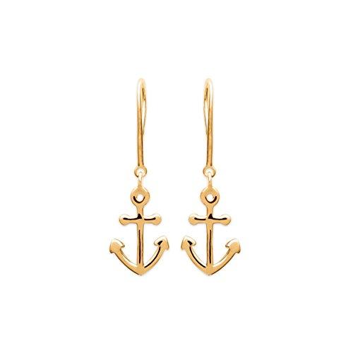 KBC – Pendientes de gancho, chapados en oro, ancla marina, barco, 15 x 10 mm