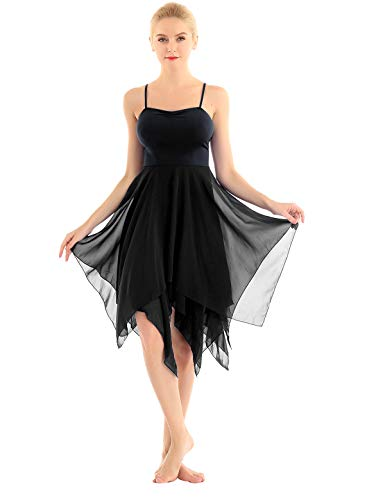 Freebily Vestiti Danza Balletto Donna Body da Ginnastica Artistica Asimmetrico Tutu Danza Classica Asimmetrico Chiffon Abito Ballo Latino Rumba Samba Nero XX-Large
