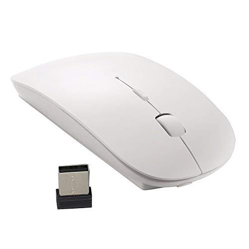 Trimming Shop 2.4GHz Wireless Sottile Mouse Cordless Ottico Topi con USB Nano Ricevitore per Laptop, Notebook, Windows 7 8 10, Linux, PC, Computer - Bianco