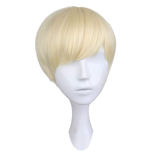 ZHML Européens Et Américains Court Paragraphe Sets Unisexe Cheveux Libéral Élégant Myopic Cheveux Courts Cheveux Blonds (Color : Gold)