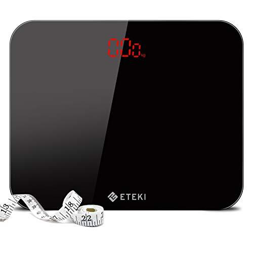 Eteki 体重計 ヘルスメーター デジタル 3kgから180kgまで測定でき おまけのメジャー付き 高精度のボディースケール 薄型で軽量収納しやすい 乗るだけで電源ON EB4010J電子スケール(電池付属)