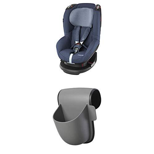 Maxi-Cosi Tobi, Kindersitz mit fünf komfortablen Sitz- und Ruhepositionen, Gruppe 1 Autositz (9-18 kg), nutzbar ab 9 Monate bis 4 Jahre, nomad blue + Pocket Becherhalter, grau