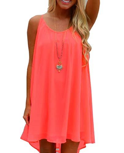 Dames Zomerjurken Sexy strandjurken Ronde hals Mouwloos Mini chiffon jurk Dames longshirt Blouse Jurken Strandkleding Casual blouse,Orange red,M
