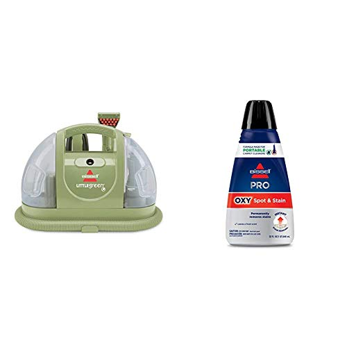 Bissell Multi-Purpose Portable Carpet and Upholstery Cleaner, 1400B, Green with Bissell Professional Spot and Stain + Oxy Portable Machine Formula, 32 oz, 32 Fl Oz