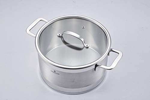 Minervor 3-Quart Stainless Steel Non-stick Saucepan with Glass Lid - Multipurpose Use for Home Kitchen or Restaurant (20cm 3qt)