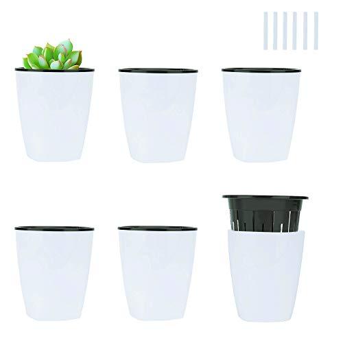 Ulikey 6 Stück Selbstbewässerung Blumentopf, Blumenkübel Blumentopf Pflanzkübel, Selbstbewässerungssystem zum Zimmerpflanzen, Schreibtisch Dekoration, Haus Dekoration