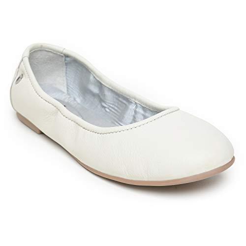 Minnetonka Women's Anna Ballet Flats 8.5 M White