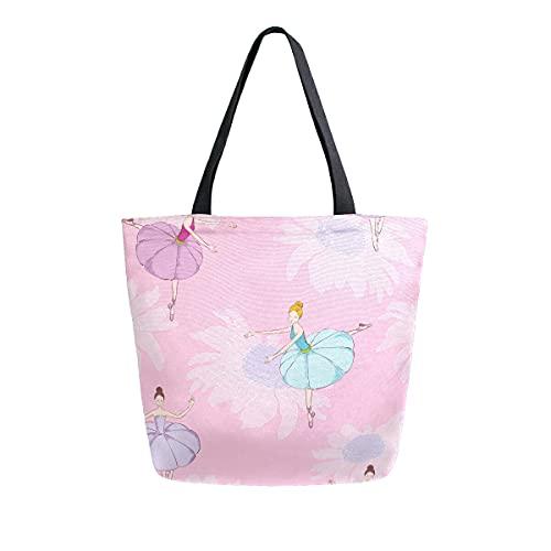 COZYhome - Bolso de lona grande con flores y elegantes bailarinas, reutilizable, bolsa de compras, bolsa de hombro para mujeres, trabajo, escuela, etc
