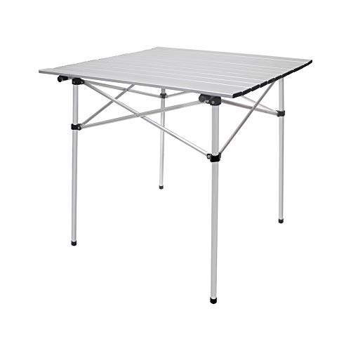 "Camping Table,Deanurs Folding Table Aluminum Portable Table Square for Outdoor Picnic BBQ,28"" x 28"" w/Carry Bag,2.0 Updated,Silver"