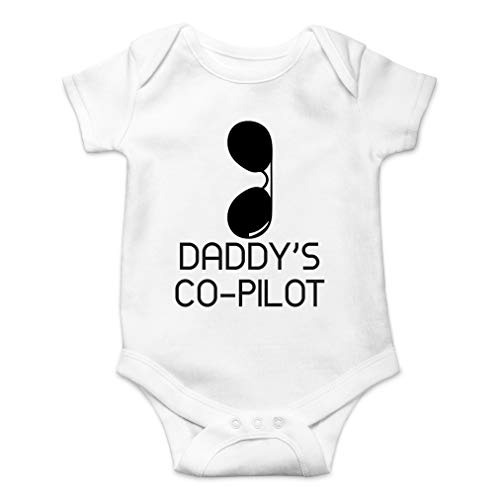 Daddy's Co-Pilot - Best Little Helper with Cool Sunglasses - Cute One-Piece Infant Baby Bodysuit (12 Months, White)