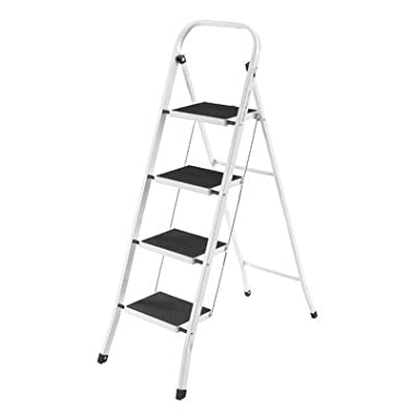 VonHaus Steel 4 Step Ladder Folding Portable Stool with 330lbs Capacity - Lightweight and Sturdy