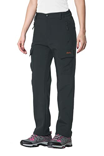 Women's Fleece-Lined Soft Shell Cargo Pants, Insulated, Water and Wind-Resistant,Grey,10 (33.5-35.5W*29.5L/Regular)