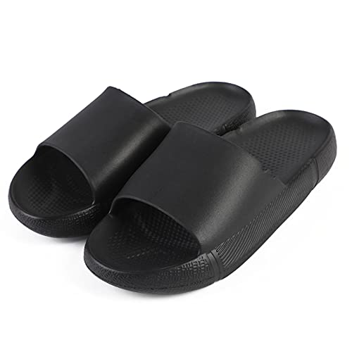 Pillow Slides Slippers for Women and Men, Shower Shoes House Slipper Massage Shower Bathroom Slipper, Non-Slip Quick Drying Open Toe Super Soft Thick Sole Sandals for Indoor Outdoor (Black, 7.5-8 Women/6.5-7 Men)
