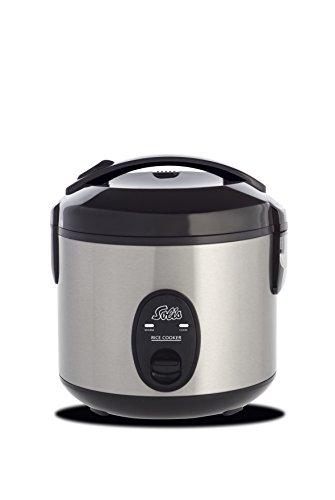 Solis Reiskocher, Weißer/brauner Reis, Warmhaltefunktion, 4 Tassen Reis, 0,8 Liter, Inklusive Messbecher und Schöpflöffel, Rice Cooker Compact (Typ 821)