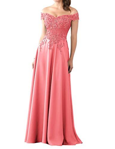 HUINI Abendkleider Lang Chiffon Ballkleid Brautjungfernkleider Spitze Brautkleider Vintage Hochzeit Partykleider Koralle 44
