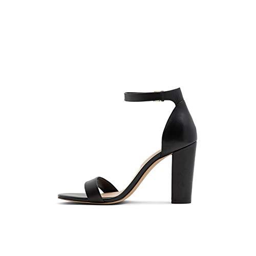 ALDO Women's Jerayclya Ankle Strap, Block Heel Sandal, Black Leather, 7